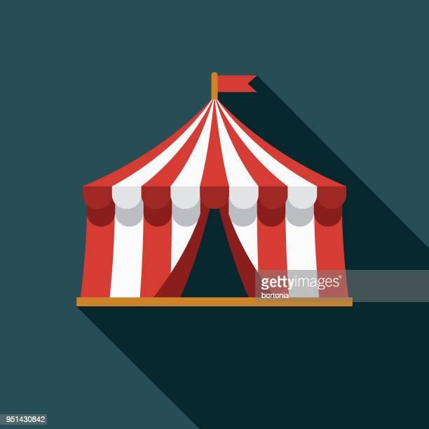 illustrations, cliparts, dessins animés et icônes de big top design plat carnaval icône avec côté ombre - chapiteau de cirque