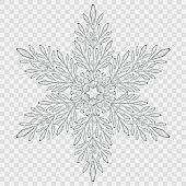 Big translucent crystal snowflake