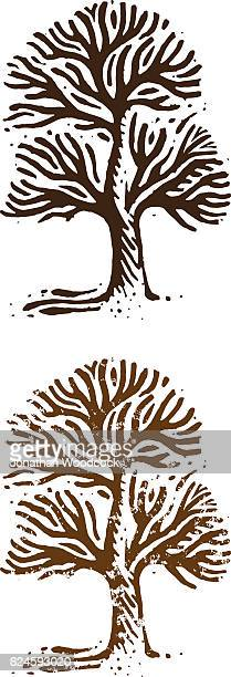 big tree woodcut illustration - holzschnitt stock-grafiken, -clipart, -cartoons und -symbole