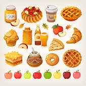 Big variety of apples icons and different kinds of baked food cooked from the fruit. Isolated vector images.