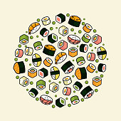 Big vector rounded sushi set