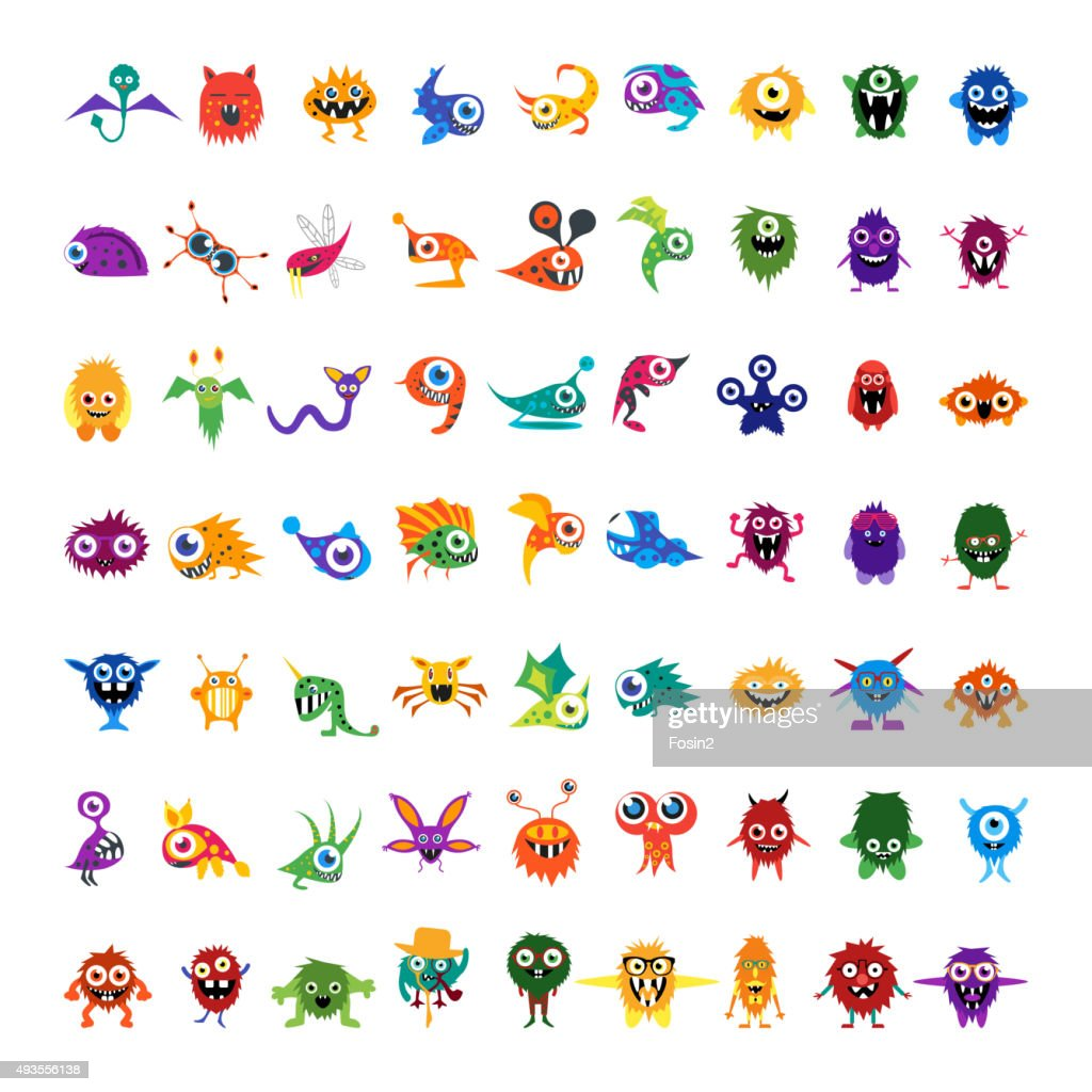 Big vector set of drawings custom characters isolated colorful monsters