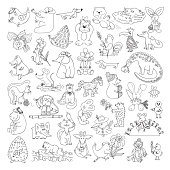 Big Vector Set of Funny Wild Animals and Pets. Coloring Page for kids. Cute Cartoon Animals, Birds, Insects and Fishes for Coloring Book