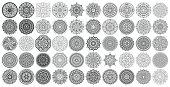 Big vector set of round patterns. Collection of geometrical mandalas. Boho ornament.
