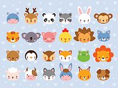 Big vector set with animal faces.