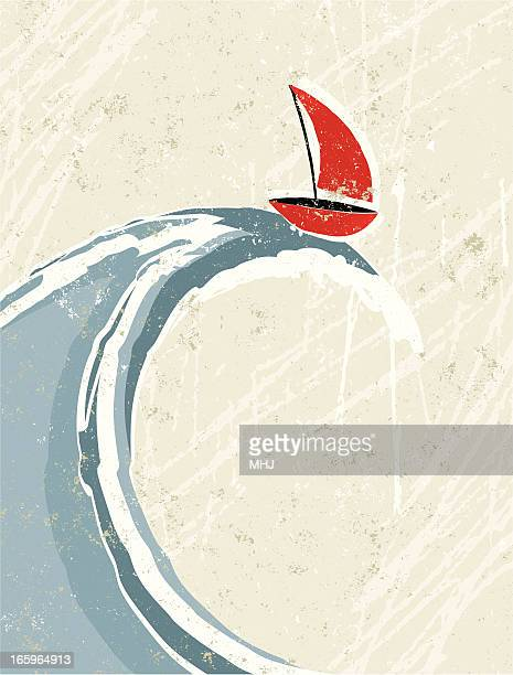 big wave and little sail boat - sail stock illustrations, clip art, cartoons, & icons