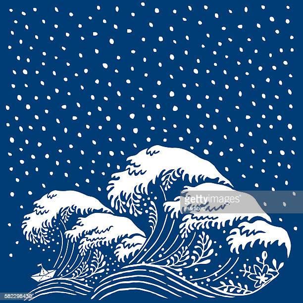 ilustraciones, imágenes clip art, dibujos animados e iconos de stock de big wave paper boat japanese style - surface level