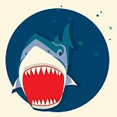 Big white shark.Vector cartoons illustration