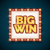 Big win banner with glowing lamps on frame vector illustration