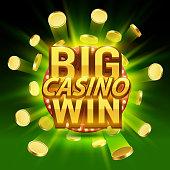 Big win casino signboard, game banner design.