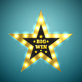 Big Win retro banner with glowing lamps. Vector