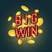 3D big win retro text.