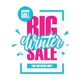 Big Winter Sale. Special offer banner with handwritten element.