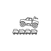 bigfoot car jumping through cars illustration. Element of extreme races for mobile concept and web apps. Thin line bigfoot car jumping through cars illustration can be used for web