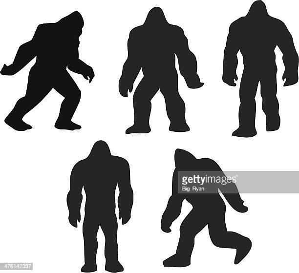 bigfoot grouping - bigfoot stock illustrations