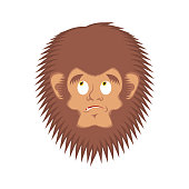Bigfoot  guilty emoji. Yeti  delinquent face. Abominable snowman culpable avatar. Vector illustration