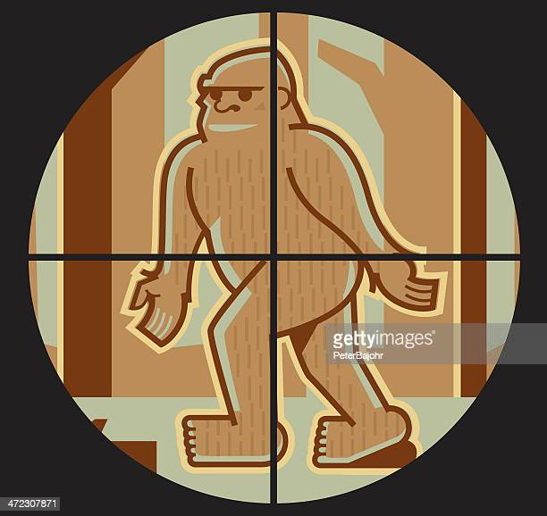 bigfoot in crosshairs - bigfoot stock illustrations