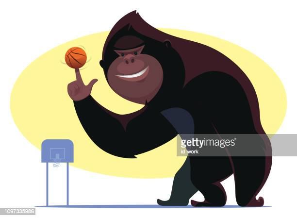 bigfoot playing basketball - bigfoot stock illustrations