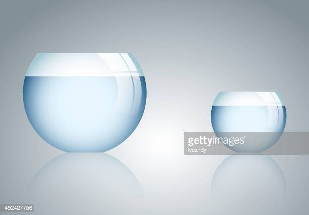 bigger and smaller fishbowl - fishbowl stock illustrations, clip art, cartoons, & icons