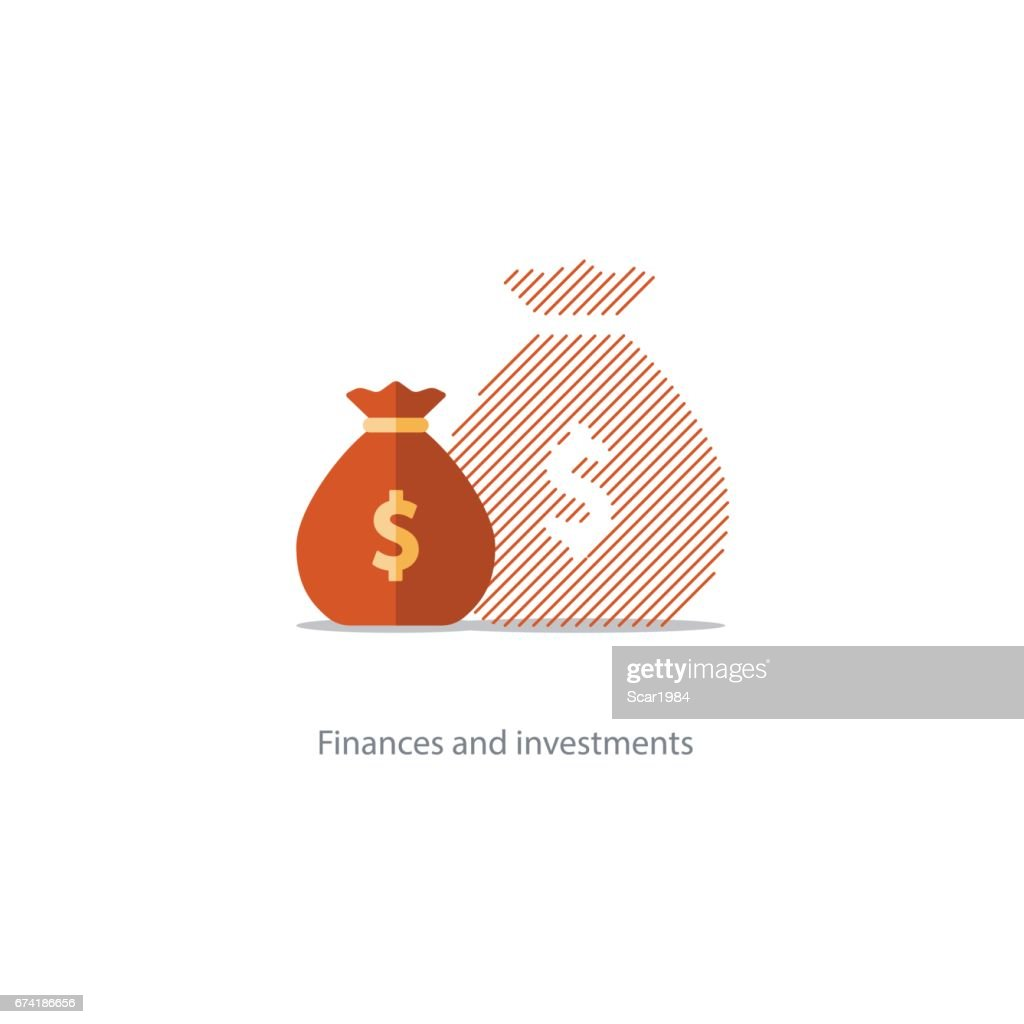 Bigger income, expenses inflation, compound interest growth, budget deficit icon