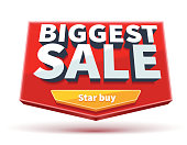 biggest sale banner with button eps 10 isolated on white