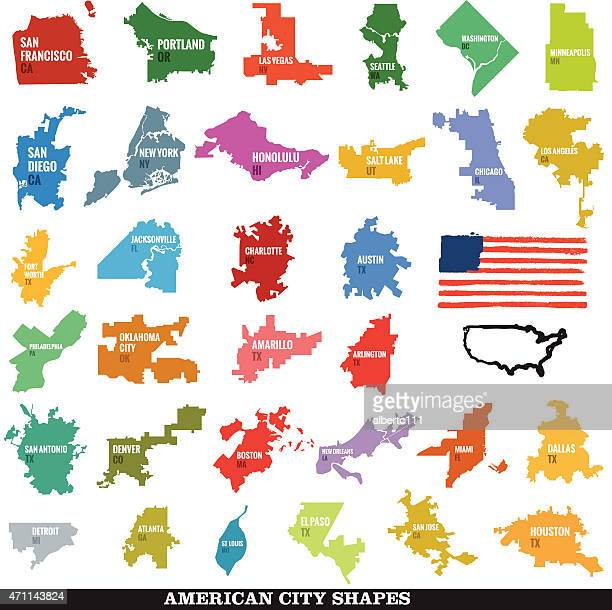 biggest us city shapes - atlanta stock illustrations, clip art, cartoons, & icons
