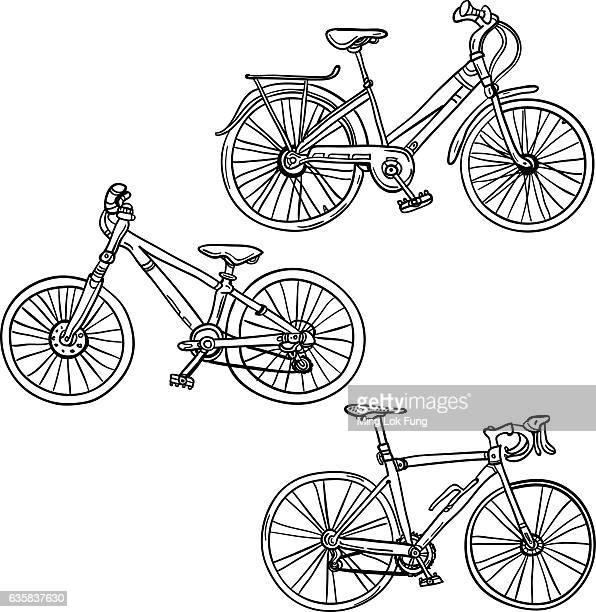 illustrazioni stock, clip art, cartoni animati e icone di tendenza di bicicletta bicicletta in bianco e nero - disegno a matita
