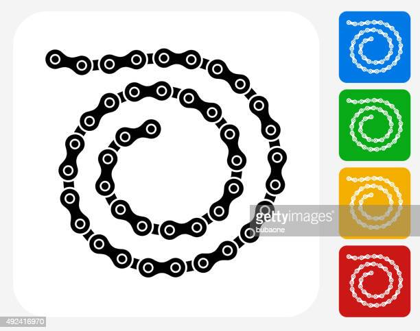 Bike Chain Icon Flat Graphic Design