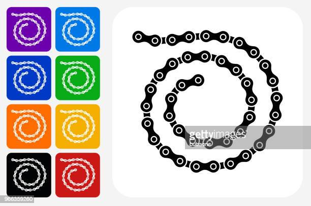 Bike Chain Icon Square Button Set