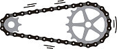 bike Chain with cogwheels. Vector illustration