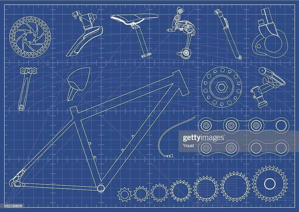Bike Equipments Blueprints : stock illustration