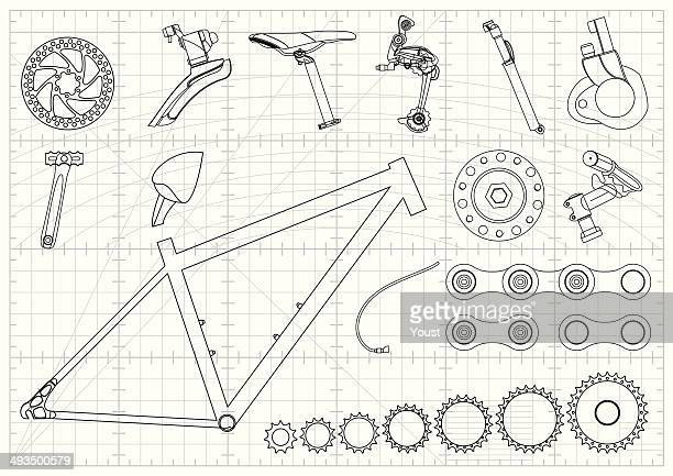 bike equipments blueprints - bicycle stock illustrations