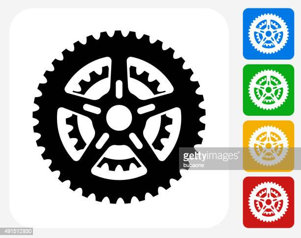 Bike Gear Icon Flat Graphic Design