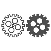 Bike gear line and solid icon, bicycle details concept, Bicycle crank sign on white background, Bicycle gear icon in outline style for mobile concept and web design. Vector graphics.