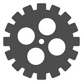 Bike gear solid icon, bicycle details concept, Bicycle crank sign on white background, Bicycle gear icon in glyph style for mobile concept and web design. Vector graphics.