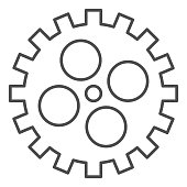 Bike gear thin line icon, bicycle details concept, Bicycle crank sign on white background, Bicycle gear icon in outline style for mobile concept and web design. Vector graphics.