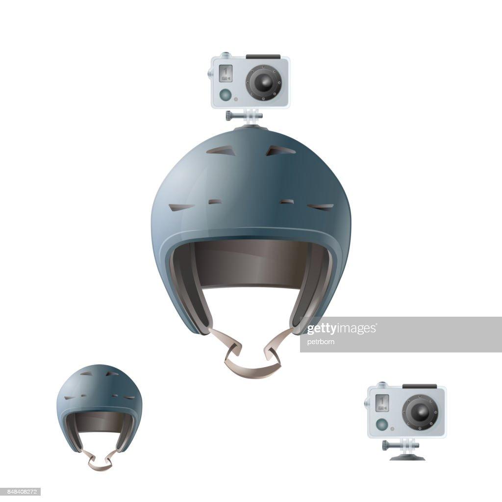 Bike helmet with action camera.