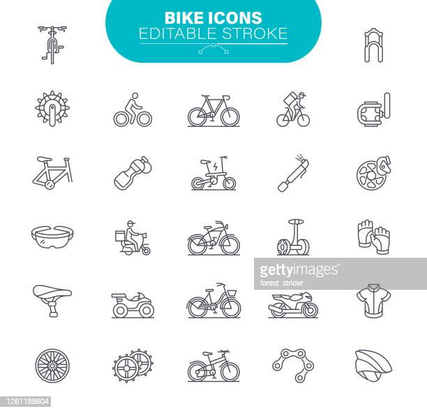 bike icons editable stroke. bicycle, vector, symbol, gear, illustration - road marking stock illustrations