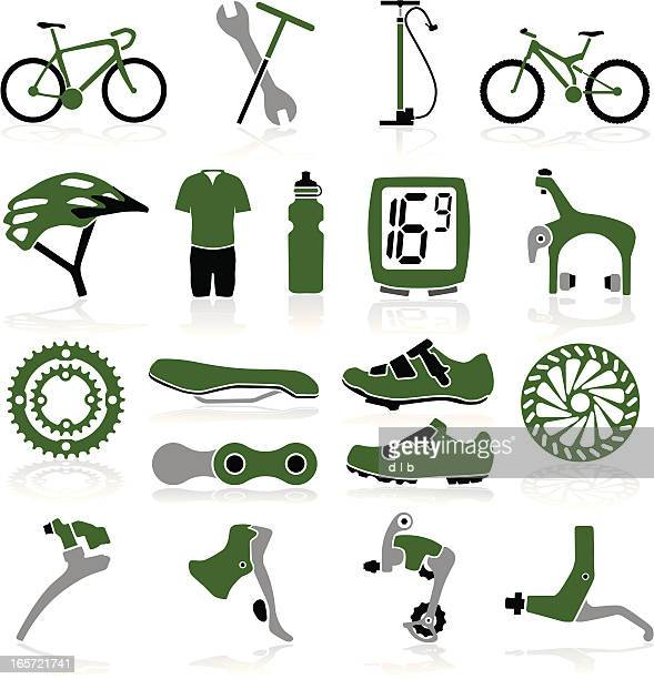 bike icons - derailleur gear stock illustrations, clip art, cartoons, & icons