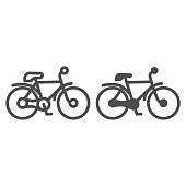 Bike line and solid icon, transportation concept, mountain bicycle silhouette sign on white background, bicycle icon in outline style for mobile concept and web design. Vector graphics.