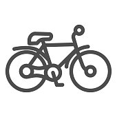 Bike line icon, transportation concept, mountain bicycle silhouette sign on white background, bicycle icon in outline style for mobile concept and web design. Vector graphics.