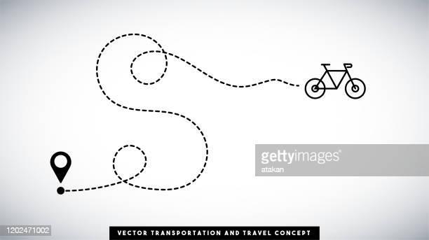 bike-line-pfad-vektor-design. transport- und reisekonzept. - zielen stock-grafiken, -clipart, -cartoons und -symbole