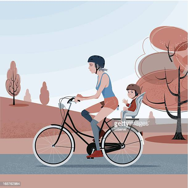 bike mom - family cycling stock illustrations, clip art, cartoons, & icons