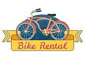 Bike rental vector symbol badge