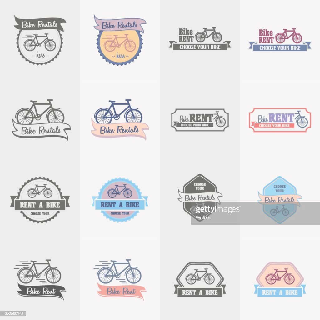 Bike rentals logos, labels and symbols vector set. Color and monochrome