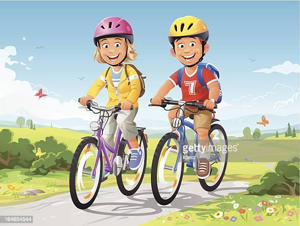 bike ride - bike helmet stock illustrations, clip art, cartoons, & icons