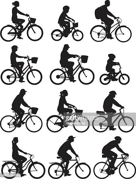bike riders - bicycle stock illustrations