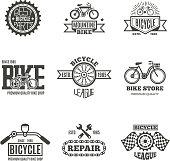 Bike shop, bicycle, biking vintage vector labels, icon, badges and emblems