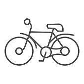 Bike thin line icon, transportation concept, mountain bicycle silhouette sign on white background, bicycle icon in outline style for mobile concept and web design. Vector graphics.
