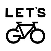 Bike vector icon with the word go instead of wheels